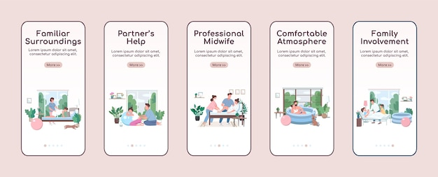 Home child birth onboarding mobile app screen flat template. family involvement. walkthrough website steps with characters. ux, ui, gui smartphone cartoon interface, case prints set