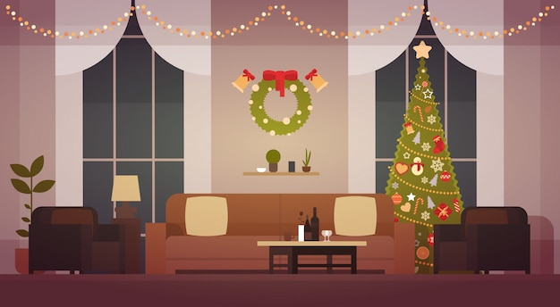 Home christmas interior with pine tree, living room decoration for new year