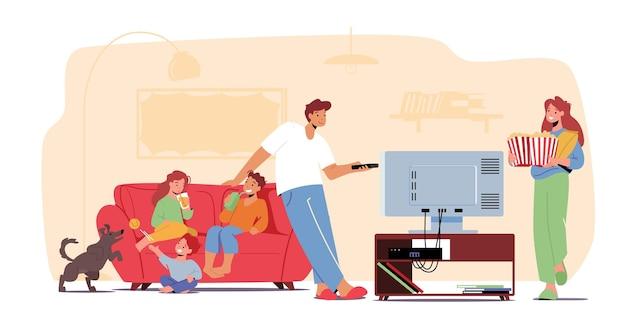 Концепция домашнего кинотеатра. семья смотрит телевизор с газировкой и кукурузой, дети и родители-персонажи сидят на диване в ленивый вечер выходного дня. свободное время, свободное время, выходной. мультфильм люди векторные иллюстрации