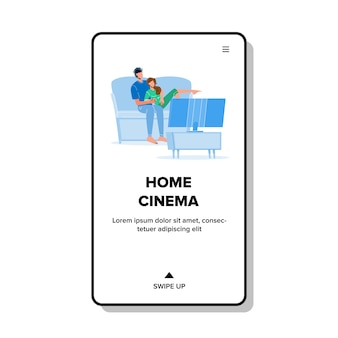 Home cinema in living room watch couple