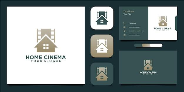 필름 롤과 명함이 있는 홈 시네마 로고 디자인 템플릿