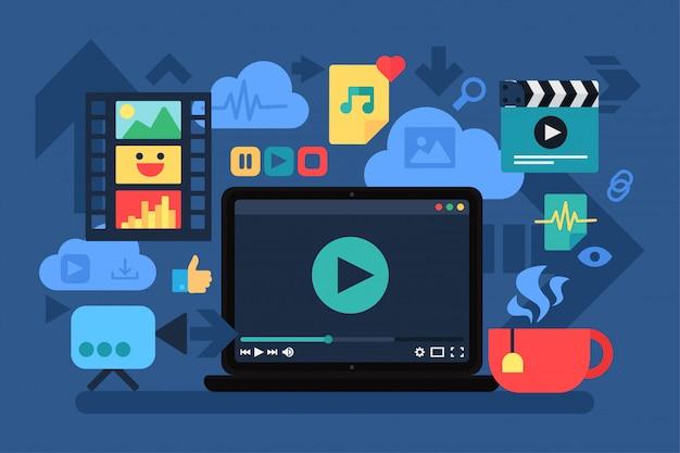 Home cinema, recreation vector illustration