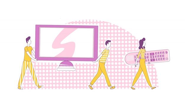 Система домашнего кинотеатра тонкая линия концепции иллюстрации. мужчины несут телевидение и женщина, держащая большой телевизор удаленного 2d персонажей мультфильма для веб-дизайна. мультимедийная развлекательная креативная идея