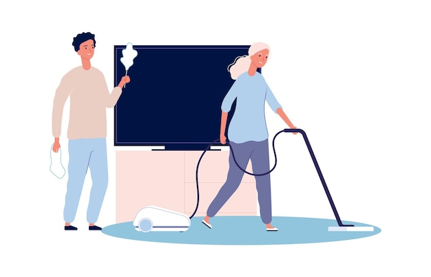家の掃除。家事をしているカップル。女性と男性が一緒に家をきれいにするベクトルイラスト。家事と家事、家事