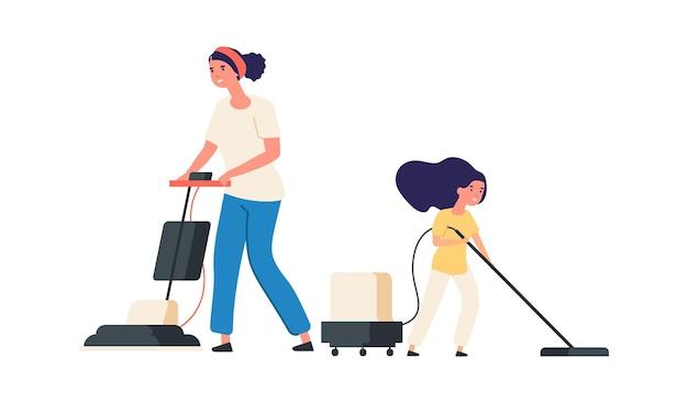 Домашняя уборка. мать и дочь с пылесосами. работа по дому, время вместе с родителями