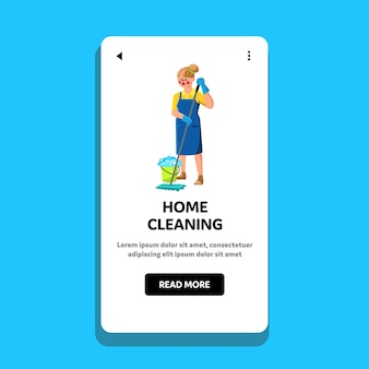Home cleaning occupation woman with mop vector. home cleaning and mopping floor young girl cleaner, bucket with soapy water. character lady housework work web flat cartoon illustration
