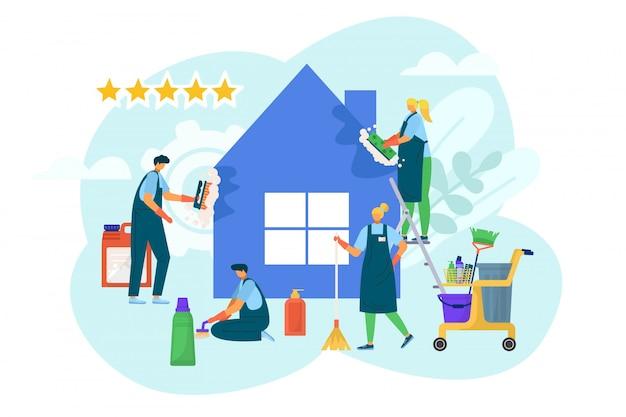 집, 일러스트에서 집 청소 서비스입니다. 국내 청소기, 만화 직업 위생 및 가사 작업 개념. 걸레, 가정용 먼지 용 빗자루 장비를 갖춘 전문인.