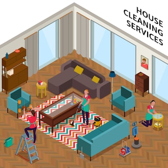 Составление услуг по уборке дома с работницами во время уборки квартиры в изометрии
