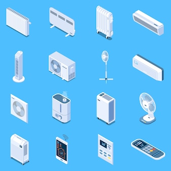 Home climate control isometric icons with floor table and tower fans air conditioner heat curtain electric and oil heaters isolated