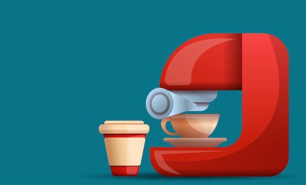 Home coffee machine illustration cartoon style