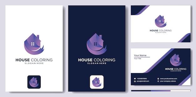 홈 컬러 로고 페인트 브러시 벡터, 화려한 집이 있는 부동산 로고, 현대적인 화려한 집 페인트 가게 로고 그림 로고, 집, 집, 풀 컬러 벡터 템플릿