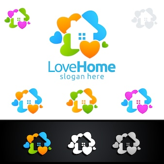 Home colorful logo with love and house concept