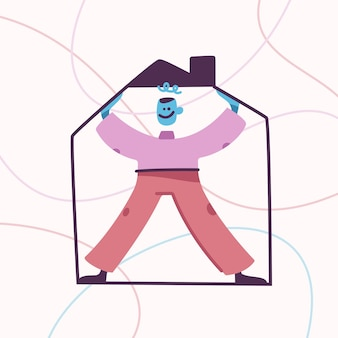 Home concept happy male mascot standing in frame of house