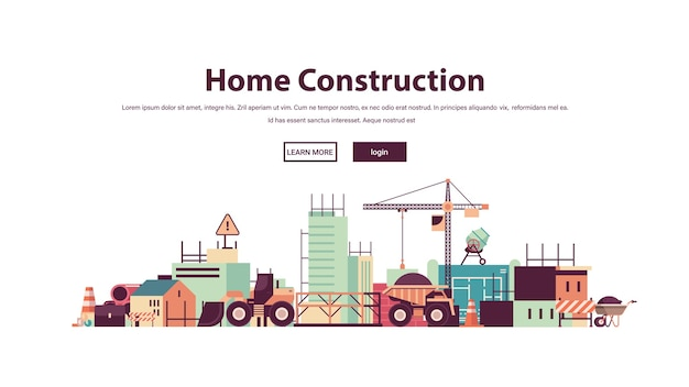 Home construction building engineering concept construction site copy space