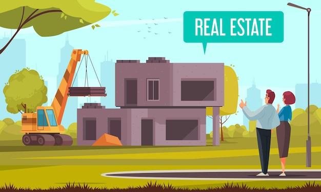 Иллюстрация строительства дома