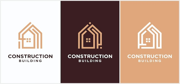 주택 건설 로고 디자인, 건물 건설 디자인 비즈니스 로고. 도시 건물 로고, 마천루 로고 벡터 템플릿