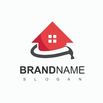 Home construction logo with house and hammer symbol