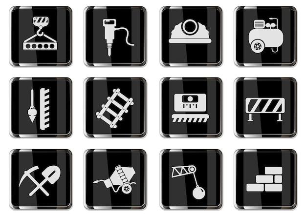 Пиктограммы строительства дома в черных хромированных кнопках. набор иконок для вашего дизайна. векторные иконки