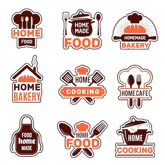 家庭料理のロゴ。キッチンバッジベクトルコレクションベーカリーシルエットベクトルイラスト。自家製キッチン、自家製調理用エプロン