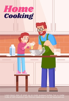 Home cooking poster template. commercial flyer design with semi flat illustration. vector cartoon promo card. domestic culinary, preparing dinner together, family leisure advertising invitation