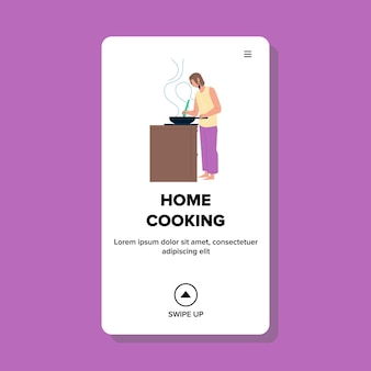Home cooking young woman at kitchen stove vector. girl home cooking delicious dish on pan. character lady chef prepare aromatic meal, frying food nutrition web flat cartoon illustration