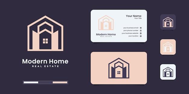 ホームクリエイティブシンボルコンセプト。ドアを開ける、建物に入る、不動産業者の抽象的なビジネスロゴ。