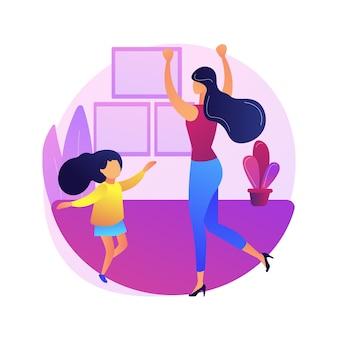 Illustrazione di concetto astratto della classe di ballo a casa. piattaforma di formazione in quarantena di danza domestica, lezione online, sollievo dallo stress, live streaming, soggiorno a casa, distanza sociale.