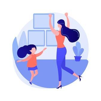 Illustrazione di vettore di concetto astratto di classe di ballo a casa. piattaforma di formazione quarantena danza domestica, lezione online, sollievo dallo stress, live streaming, soggiorno a casa, metafora astratta della distanza sociale.