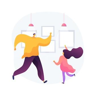 Illustrazione di vettore di concetto astratto di classe di ballo a casa. piattaforma di formazione quarantena danza domestica, lezione online, sollievo dallo stress, streaming live, soggiorno a casa, metafora astratta della distanza sociale
