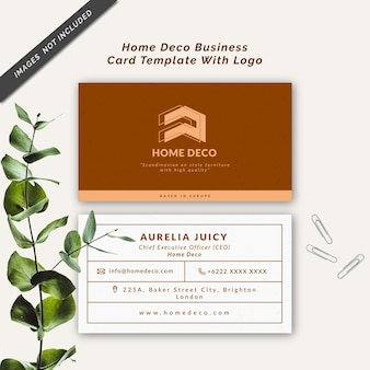 Home deco business card template with logo