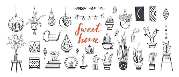 家の装飾と観葉植物の手描きセット。家の装飾とインテリアデザインの要素