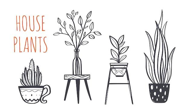 가정 장식 및 집 식물 손으로 그린 된 세트