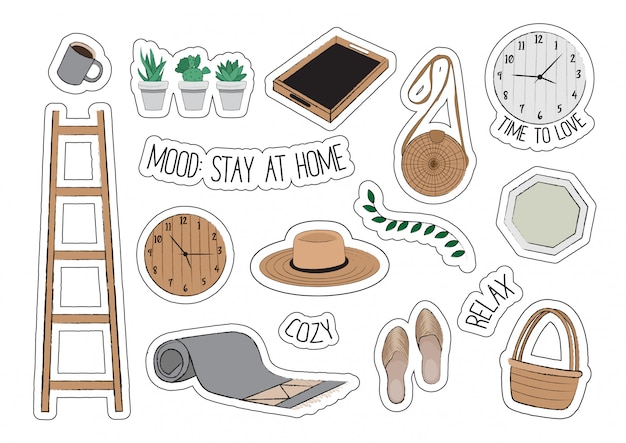 Home decor. tray, wicker hat, bag, basket, mug, staircase, carpet, clock, succulents, slippers.