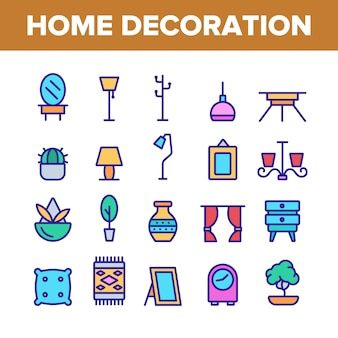 Home decoration items icons set