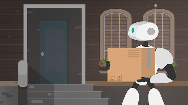 Баннер с доставкой на дом. робот держит большую коробку. доставка будущего. концепция доставки товаров, посылок и товаров на дом. вектор.