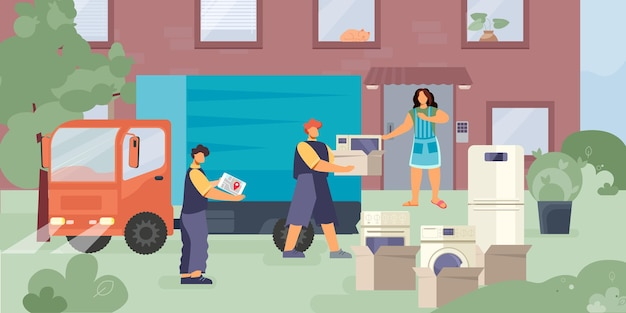 Home delivery equipment flat composition with outdoor scenery and worker characters unloading truck with household appliances