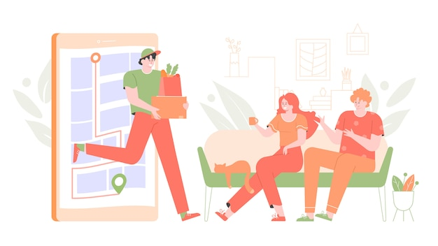 Home delivery of goods and food. the courier jumps out of the smartphone, a young couple sitting at home on the couch. mobile application fast delivery service.  flat illustration.