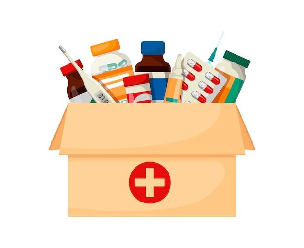 Доставка медикаментов на дом. медицинские принадлежности в коробке. векторные иллюстрации в мультяшном стиле.