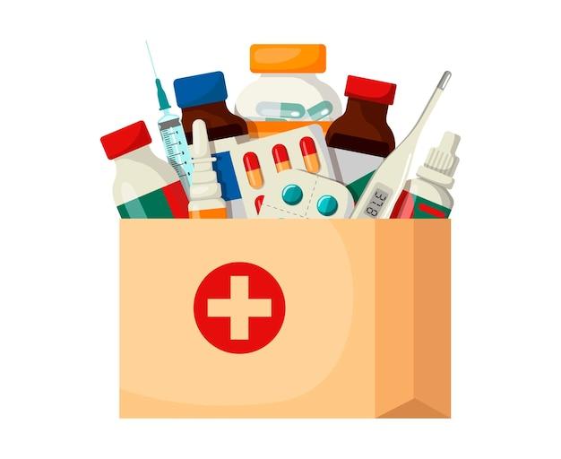 Доставка медикаментов на дом. медицинские принадлежности в бумажном пакете. векторные иллюстрации в мультяшном стиле.