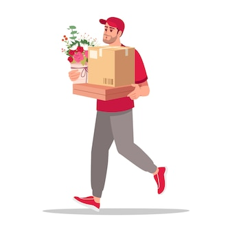 Home delivery of presents semi flat rgb color vector illustration. man carry boxes and bouquet. caucasian male courier in red uniform isolated cartoon character on white background
