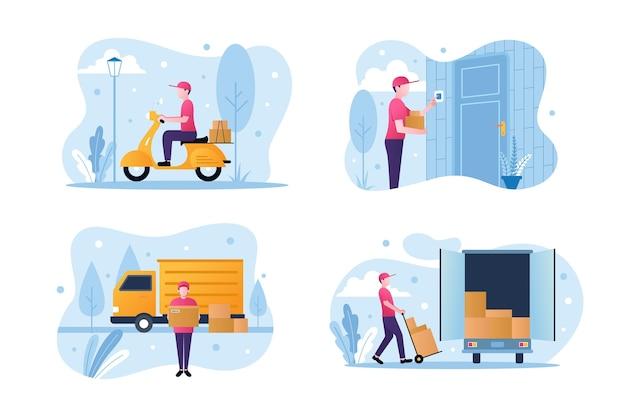 Коллекция работников службы доставки на дом
