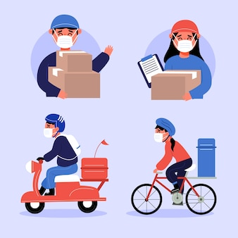 Home delivery workers pack