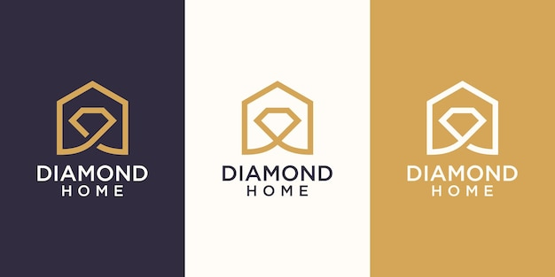 Home diamond logo designs template, house combined with diamond.