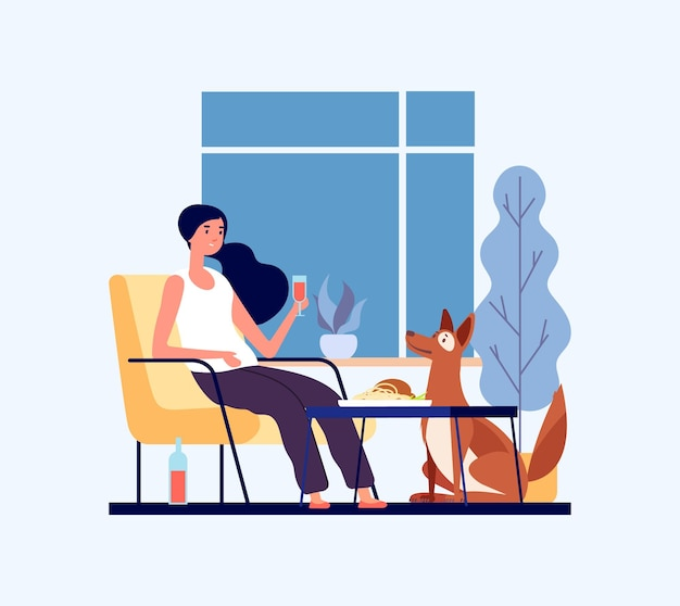 Home dinner concept. woman with her dog in living room.