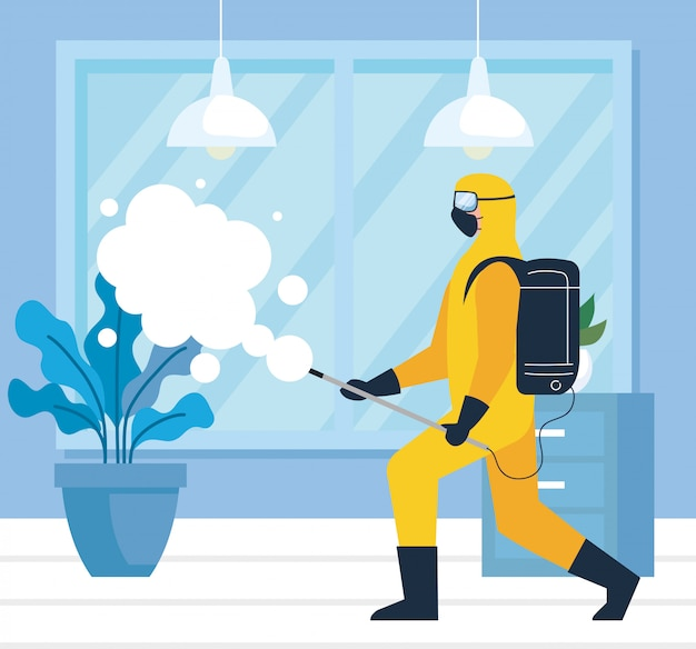 Home disinfection by commercial disinfecting service, disinfectant worker with protective suit