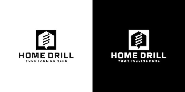 Вдохновение для дизайна логотипа домашнего бурения, бурение почвы, сверлильный станок