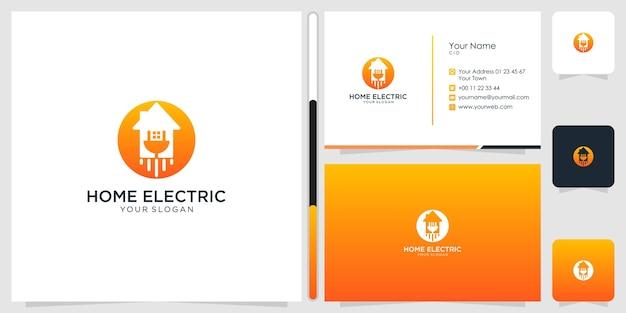 家の電気のロゴのデザインと名刺のテンプレート