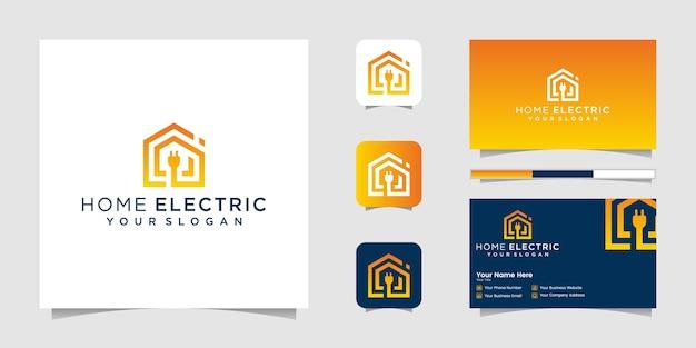Домашняя электрическая линия логотипа в стиле арт и визитная карточка
