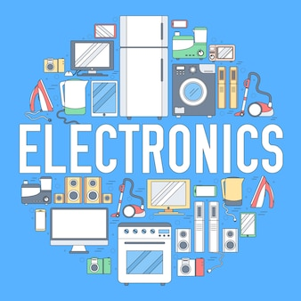 Home electronics appliances circle infographics template. icons for your product or applications.