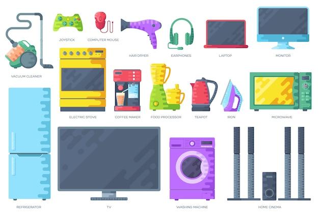Home electronics appliances infographics template